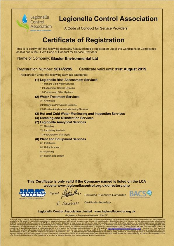 Certification Glacier Environmental